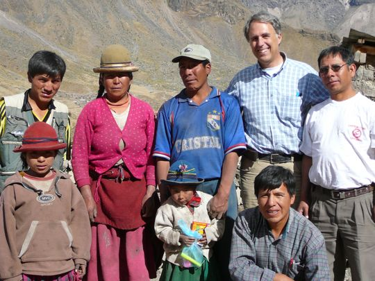 Missionaries visiting some local people along the way
